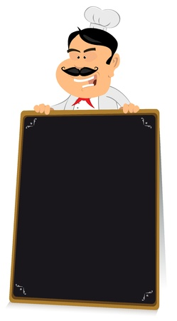 Illustration of a chef cook holding blackboard sign for restaurant menu Vector