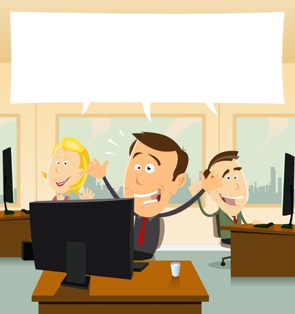 welcome business: Illustation of cartoon business people cheerful and happy at the office Illustration