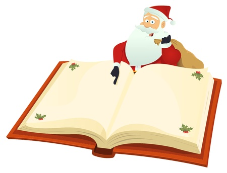 Illustration of santa claus showing christmas list on a book Vector