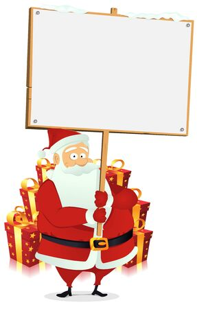 Illustration of happy santa claus holding a blank wood sign Stock Vector - 11248584