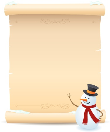 Illustration of a snowman showing parchment sign for your advertisement Vector