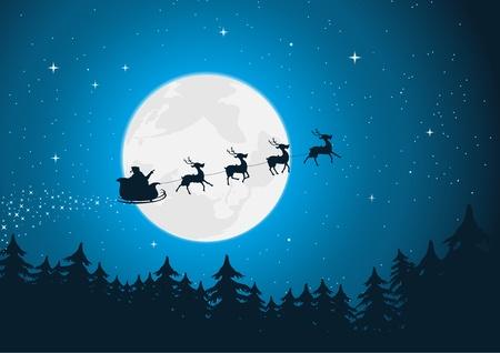 papa noel en trineo: Ilustración de Santa conducir su trineo con renos corriendo en el claro de luna. ¡Feliz Navidad!