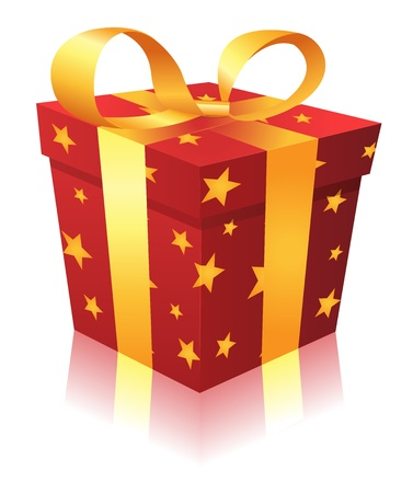 Illustration of a cartoon gift box for birthdays, christmas holidays Vector
