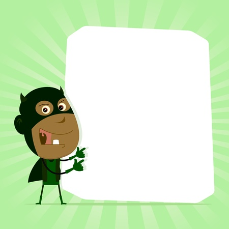 Illustration of an afro black super hero young boy holding advertisement sign Vector