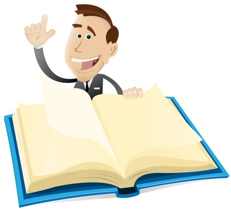 Illustration of a cartoon businessman showing a catalog of publication or any of your advertisement message on an opened book