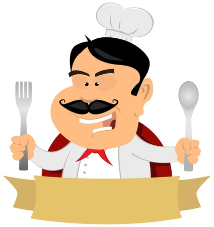 aşçı: Illustration of a cartoon chef cook banner, master of french cuisine Çizim