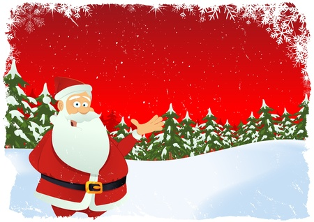 Illustration of christmas card with santa claus chararcter and winter landscape Vector