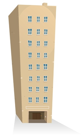 Illustration of a cartoon residential building tower Vector