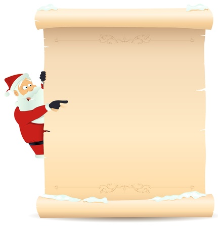 Illustration of Santa Claus pointing christmas parchment sign for children gift or toys wish list Vektorové ilustrace