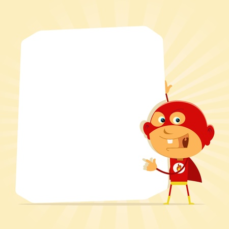 Illustration of a super hero young boy holding advertisement sign Stock Vector - 11248597