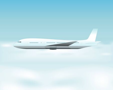 Illustration of an airplane flying above the clouds Vector