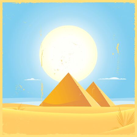 Illustration of two Giza egyptian pyramids inside desert and dunes environment Vector