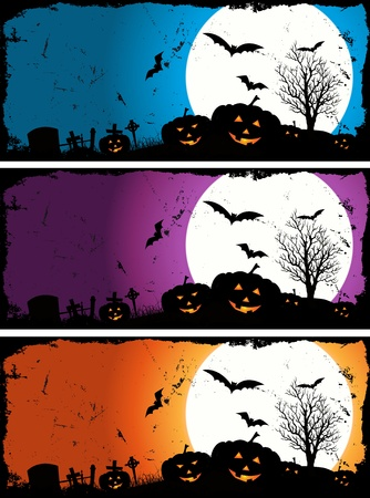 Illustration of a set of grunge pumpkins for halloween holidays with blue, violet and  orange variations Vector