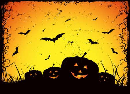 Illustration of grunge pumpkins for halloween holidays