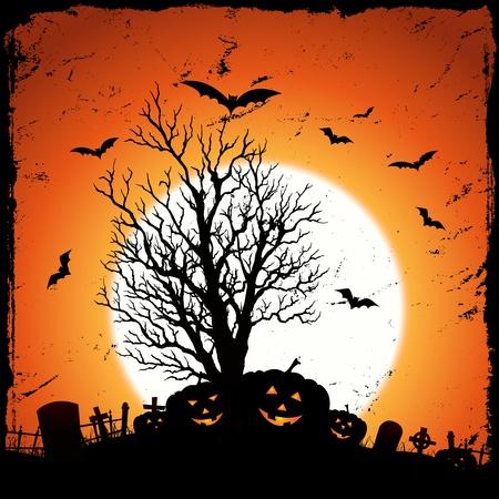 boom halloween: Illustratie van grunge pompoenen voor Halloween vakantie
