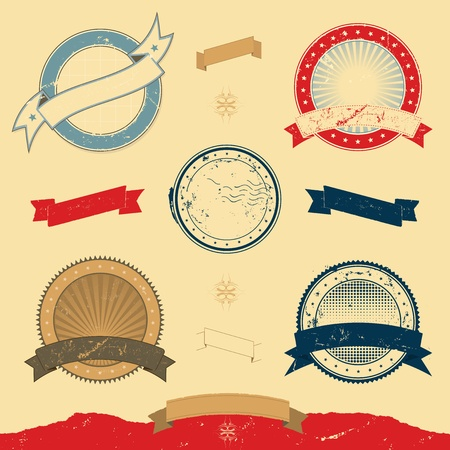 Illustration of a collection of design grunge vintage banners, labels, seal stamper and  icons Stock Vector - 11248623