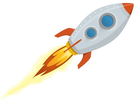Illustration of a rocket ship space vehicle blasting off into the sky