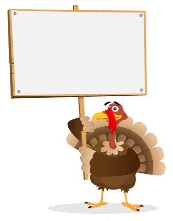 cartoon dinner: Illustration of a turkey holding menu for thanksgiving holidays
