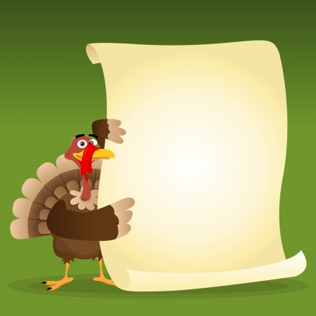thanksgiving dinner: Illustration of a turkey holding menu for thanksgiving holidays