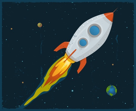 rocketship: Illustration of a rocket ship flying through outer space