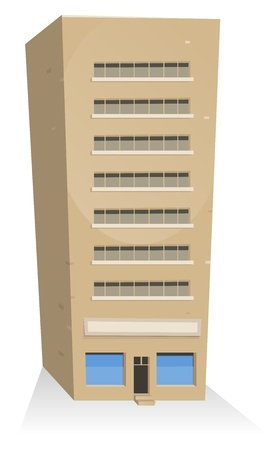 apartment building: Illustration of a cartoon building tower