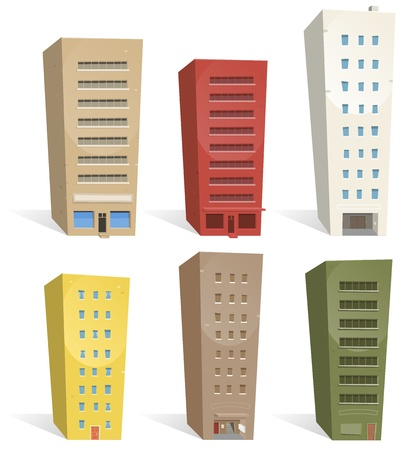 apartment block: Illustration of a set of cartoon buildings. Choose some and build your own city  ! Illustration