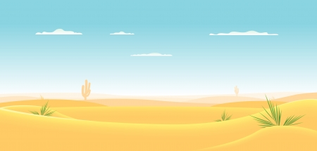 cactus desert: Illustration of a cartoon desert landscape going deeply toward horizon