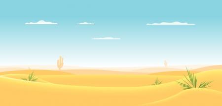 pustynia: Ilustracja z pustynnym krajobrazem kreskówki dzieje głęboko w stronę horyzontu Ilustracja
