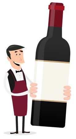 vendors: Illustration of a cartoon winemaker holding bottle of red wine with blank sign and copy space Illustration