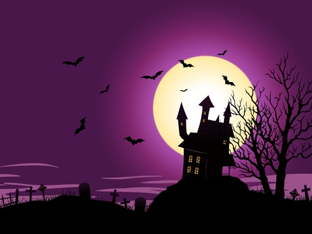 Illustration of a spooky haunted house inside halloween landscape Vector