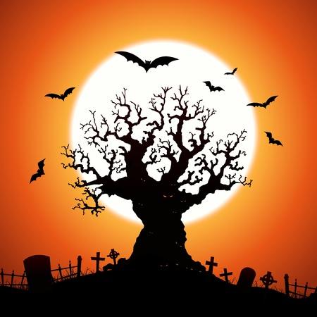 Ilustración de un árbol de Halloween asusta malvados con los ojos malos, cementerio, lápidas y los murciélagos volando alrededor de