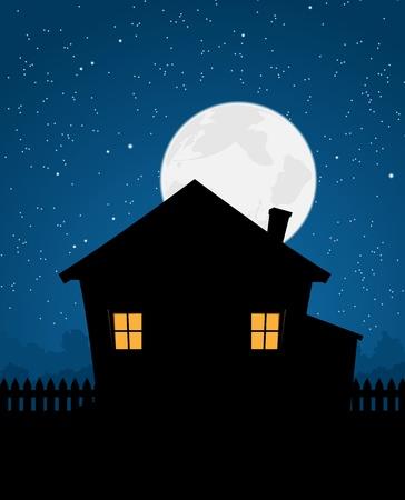 Ilustración de una casa de dibujos animados de una noche estrellada