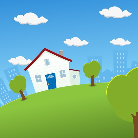Illustration of a cartoon house inside rounded landscape Vector
