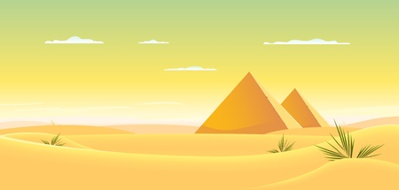 ancient civilization: Illustration of egyptian pyramids inside desert landscape