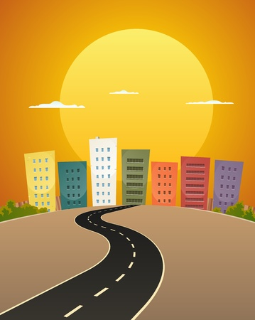 sun road: Illustration of a cartoon city street road in the sunrise
