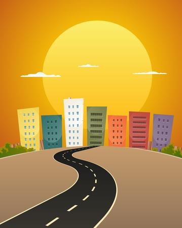 transporte terrestre: Ilustraci�n de una ciudad camino de dibujos animados de la calle en la salida del sol