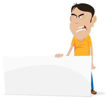Illustratie van een cartoon verdrietig en boos jonge man die bord met uw bericht