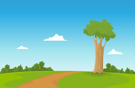 trail: Illustration of a cartoon tree inside spring field with way to walk Illustration
