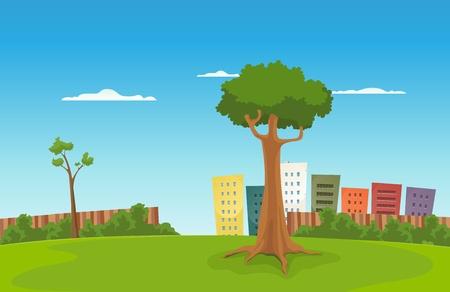 漫画都市緑豊かな公園の背後にある都市景観とのイラスト  イラスト・ベクター素材