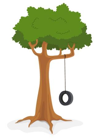 swings: Illustration of cartoon swing on a tree