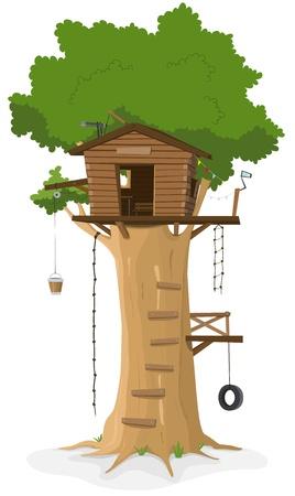 columpio: Ilustración de una casa en el árbol de la historieta en gran roble sobre fondo blanco Vectores