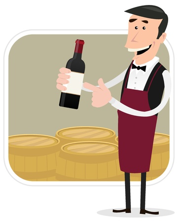 Illustration of a cartoon winemaker holding bottle of red wine with barrels background behind Vector