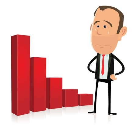 Illustration of a sad business trader in recession and crisis time Vector