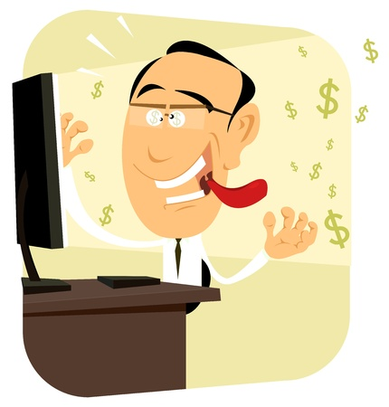 banker: Illustration of a crazy trader going sick with money on his computer