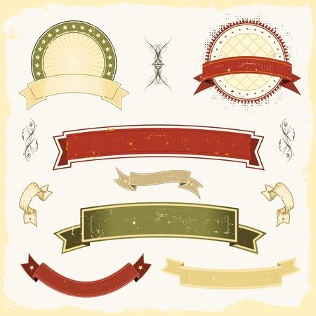 Illustration of a collection of design grunge vintage banners, labels, seal  stamper Stock Vector - 11248638