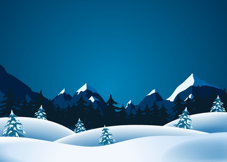 Illustration of winter landscape with mountains range and pine trees forests in the  snow Vector