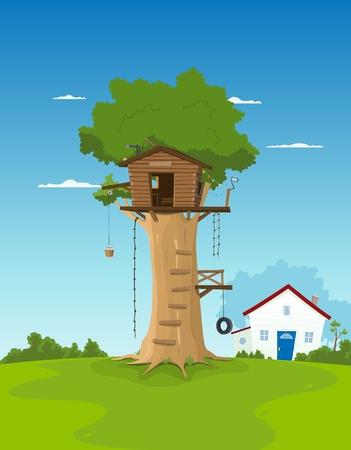 Illustratie van een cartoon boomhut in de grote eik in de tuin landschap