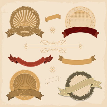 vintage scroll: Illustration of a collection of design grunge vintage banners, labels, seal  stamper and icons
