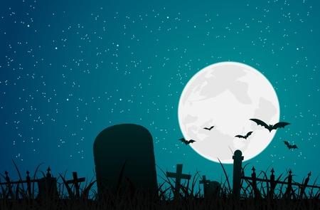 Ilustración de una lápida con el paisaje cementerio y la luna llena brillante detrás de la atmósfera de miedo zombie