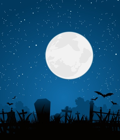 cemeteries: Illustration of a graveyard cartoon scene for halloween background with big moon in the sky Illustration